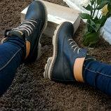 Женские кожаные зимние ботинки стиль Timberlend, теплый мех, толстая кожа ,стильные