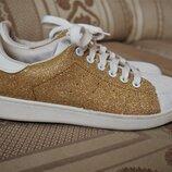 Стильные слипоны на шнурках, кроссовки, сникеры, туфли р. 38-24.5 см золото