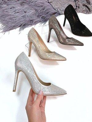 Женские туфли лодочки стразы блестящие
