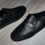 Туфли мокасины черные стильные 34й