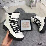 Белые ботинки на шнуровке, демисезон