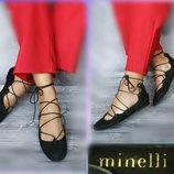 36-37р Замша Новые Minelli Франция,черные туфли,балетки на шнуровке