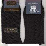 Носки мужские демисезонные тонкие шёлк Calze Elite, 41-45 размер, высокие, чёрные,12 пар