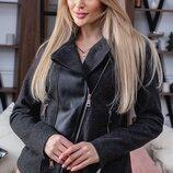 Женская кожаная куртка ветровка косуха на кашемире скл.1арт. 58314