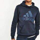 Толстовка без застежек чернильно-синего цвета с капюшоном и нашивкой adidas