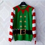 Размер М Супер яркий фирменный мужской новогодний свитер