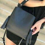 Женская кожаная сумка Polina & Eiterou чёрная голубая серебристая жіноча чорна голуба