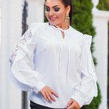 Женская нарядная блуза в больших размерах 0456 Софт Рукава Кружево Воланы в расцветках.