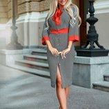 Женское платье костюмная ткань принт гусиная лапка и горошек скл.1 арт. 58319