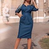 Женское джинсовое платье три цвета приталеный фасон на змейке скл.1 арт.58317