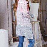 Женский теплый вязаный шерстяной кардиган кофта плотная вязка хит сезона скл.1 арт.57911