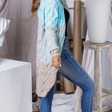 Женский турецкий вязаный шерстяной кардиган коса микс цветов скл.1 арт.57900