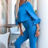 Женский брючный костюм двойка ткань софт джинс-бенгалин скл.1 арт.58334