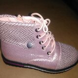 Демисезонные ботинки на девочку 26,28 р. Bessky, осенние, весенние, на флисе, школу, бески, розовые