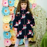 Милое пальто демисезонное для девочек Лисички