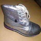 Демисезонные ботинки на девочку 27,28 р. Bessky, осенние, весенние, на флисе, школу, бески, серебро