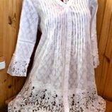 Кружевная белая пляжная туника из хлопка Fresh cotton, AnastaSea код 1358