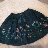 Вельветовая юбочка с вышивкой TU на 5 лет