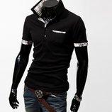 Рубашка поло мужская футболка черная белая