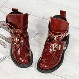 Код 4060 Демисезонные открытые ботинки Натуральная лаковая кожа Кожаная внутренняя часть Высота кабл