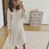 Платье H&M TREND S бежевый кремовый хлопок вискоза