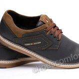 Мужские кожаные туфли Tommy Hilfiger Sheriff черные с коричневым
