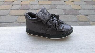32-37р новые школьные подростковые осенние деми ботинки девочке на флисе с бантом