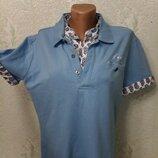 Стильная комфортная мягенькая футболка поло р46-48-50 пог 54.