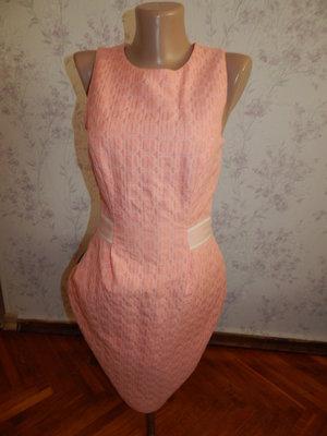 платье персикового цвета на подкладке стильное модное р8 Limited Edition
