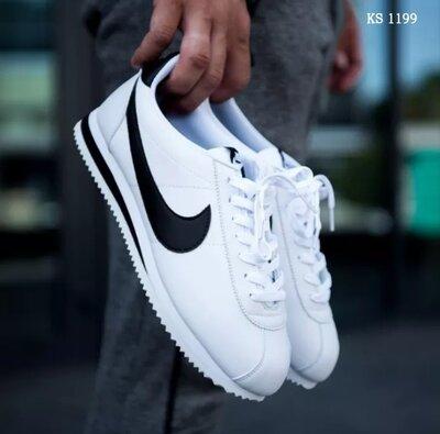 Как оригинал. Мужские кроссовки Nike Cortez бело-черные KS 1199
