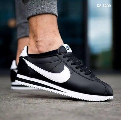Как оригинал. Мужские кроссовки Nike Cortez черно-белые KS 1200