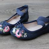 Туфли балетки с вышивкой primark 24 размер