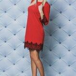 Платье с завязками сзади и с кружевом vsl-02105 терракот