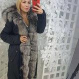 Парка женская с мехом из чернобурки, 90 см. Парки в широком ассортименте подарок. Акция