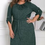 Женское платье батал ткань ангора меланж размеры хл до 62 р. скл.1 арт.58391
