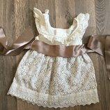 платье для девочки 6 мес нарядное , лен, кружево . сукня для дівчинки кружевна. нарядна . Льон . Дов