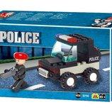 Конструктор SLUBAN M38-B700 военная полиция, машинка, фигурка, 45 деталей, в коробке 16,5-9,5-4,5 см