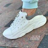 Кроссовки женские кожаные белые на толстой подошве