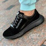 Кроссовки женские кожаные замшевые черные Philipp Plein