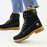 Зимние женские ботинки нубук темно-синий Вт226768З