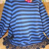 Шикарный теплый свитерок с ажурными вставками 18р.