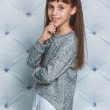 Кофта - обманка теплая для девочки. декорированная жемчугом светло-серая, темно- серая - есть замеры