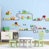 3D интерьерные виниловые наклейки на стены Машинки с Дорогой - Дома 2 листа 90-30 см в детскую