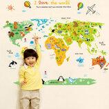 3D интерьерные виниловые наклейки на стены Карта Мира Звери 90-60 см в детскую 2 . Декор, Обои