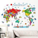 3D интерьерные виниловые наклейки на стены Карта Мира Звери 90-60 см в детскую 3 . Декор, Обои