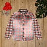 5-7 лет рубашка в клетку с длинным рукавом matalan
