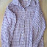Рубашка детская, на 8-9 лет, в клетку. 100% хлопок.