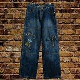 Мужские широкие штаны, синие джинсы