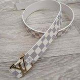 Ремень в стиле Louis Vuitton, Луи Виттон, белый, унисекс