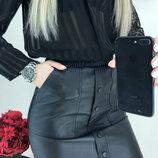 Женская кожаная мини юбка Santana с завышеной талией хит сезона арт.217 скл.10